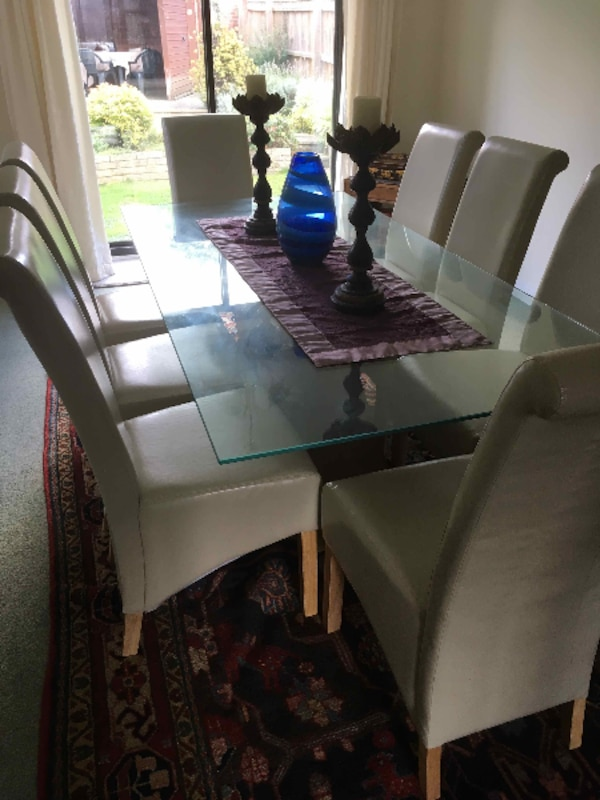 Brown Wooden Glass Top Table With Chairs