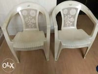 two white wooden framed padded armchairs Mumbai, 400083