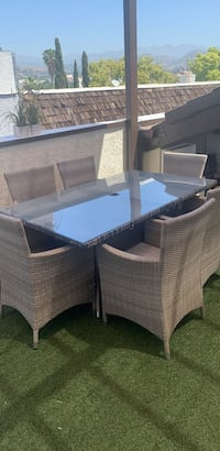 Outdoors glass top table dining set with 6chairs Glendale, 91206