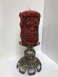 Hand Carved Wax Vintage German Candle with Stand  Hull, 02045