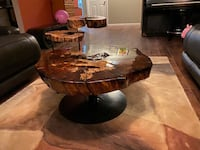 Handcut coffee table/ adjustable side tables Forest Lake