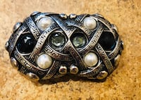 Made in Italy Silver w/white pearls & black gemstones, heavy durable