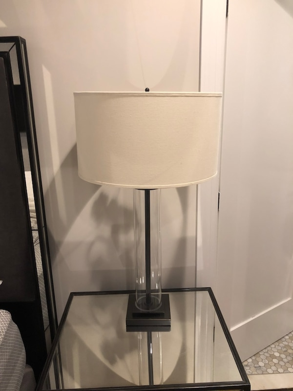 Restoration Hardware French Column Glass Table Lamp In Bronze With