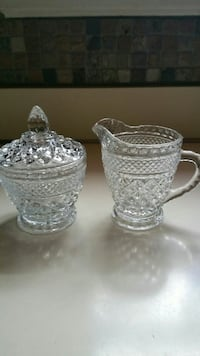 Anchor Hocking Wexford  Glass Sugar Bowl Set  Berlin