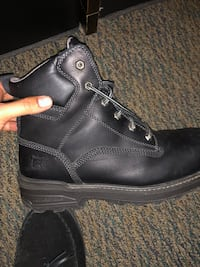 Black timberlands steel toed work boots