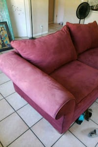 red suede sofa chair with ottoman Fort Lauderdale
