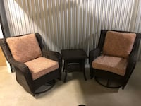 Wicker Swivel Glider Patio Chairs and End Table Palatine, 60067