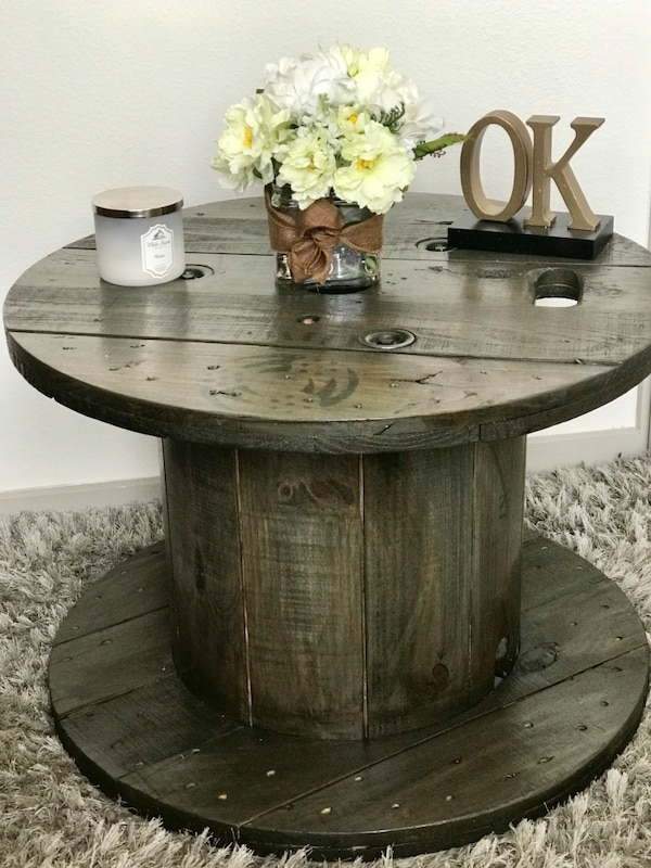 Finished Farmhouseindustrial Wooden Spool Table