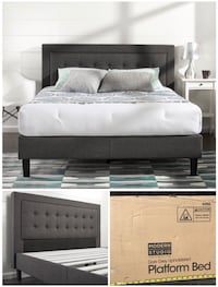 New king platform bed frame grey with tufted headboard  Columbus, 43220