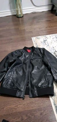 boys black guess faux leather jacket