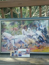 horse carriage painting with frame
