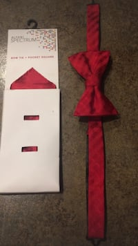 Macy's Never Opened Bow tie With Square Pocket Piece (red) Meridian, 83646