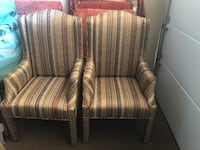 two brown-and-white stripe fabric sofa chairs Las Vegas, 89113