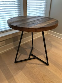 Wood Round Dining Table w/ Slope Leather Chairs Washington, 20018