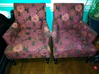 two pink floral fabric sofa chairs Wilson, 27893