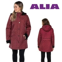 NEW Alia Coat Quilted Women's Cabernet Hooded Jacket sz XL Toronto