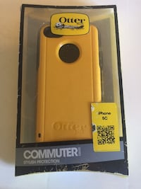 yellow and gray OtterBox iPhone 5c case