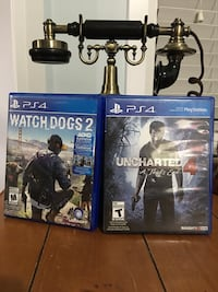 PS4 games- Uncharted 4 and Watchdog 2