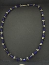 "Silver & ""Cobalt"" Glass Bead Necklace"