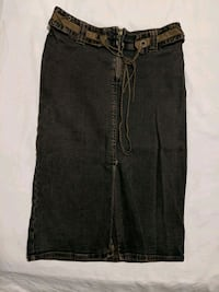 Long jean skirt with front slit size 2  Calgary, T2E 0B4