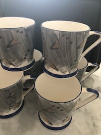 """Set of 6 mugs - Bone China - microwave & dishwasher safe - 4"""" tall - excellent used condition Richmond, V6Y 4M2"""