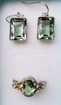 2ct Genuine Oval Cut Green Topaz And Earring Set Baltimore