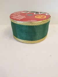 BRAND NEW 50FT. GOLD TRIMMED GREEN FABRIC RIBBON