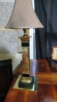 brown wooden base white shade table lamp