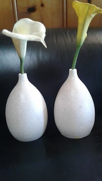 two white-and-green ceramic vases VANCOUVER