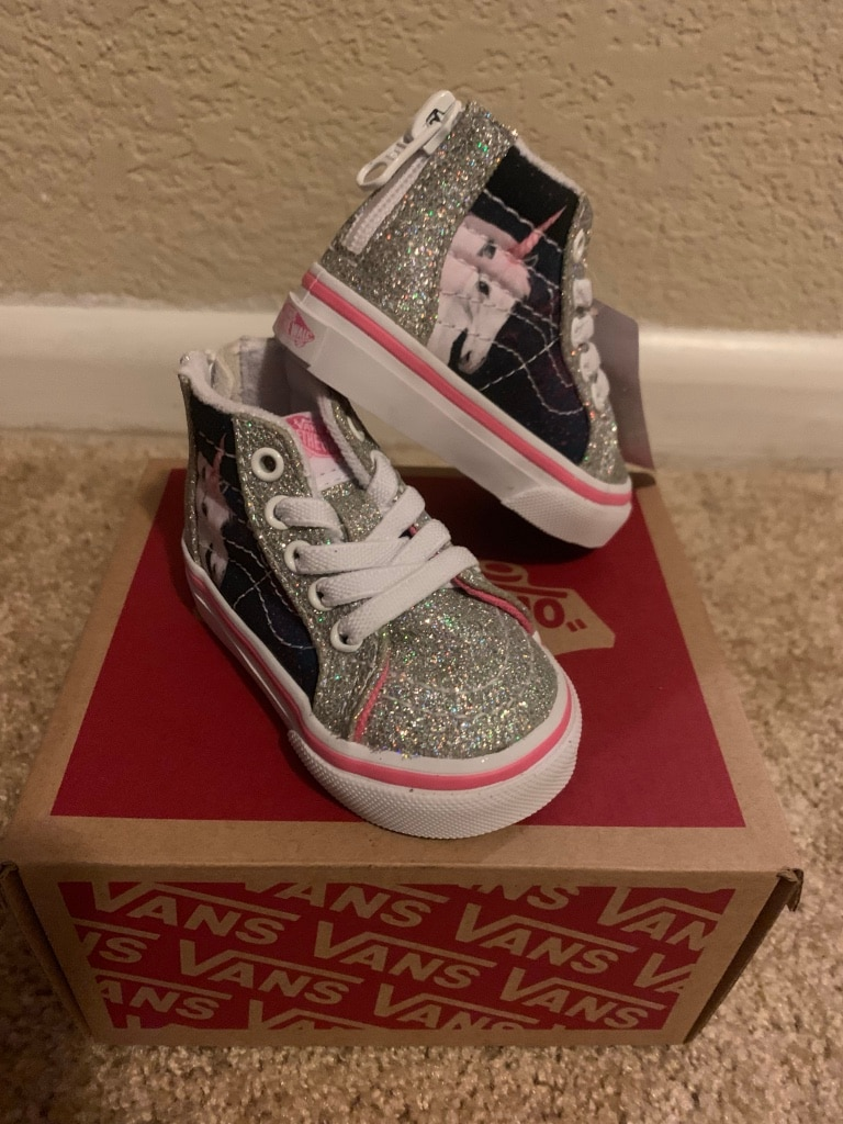 Vans Little Girls 2T High Top Slate Shoes, Sparkly Unicorn , BRAND NEW IN  BOX