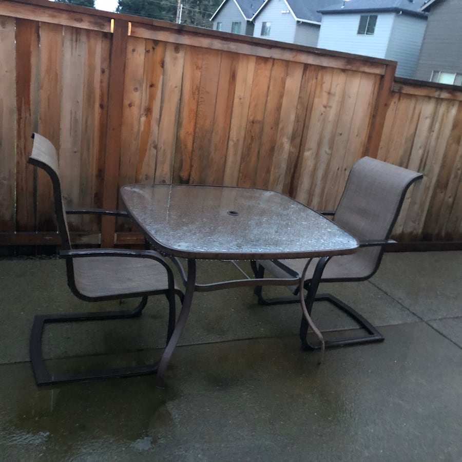 Patio tables and 2 chairs