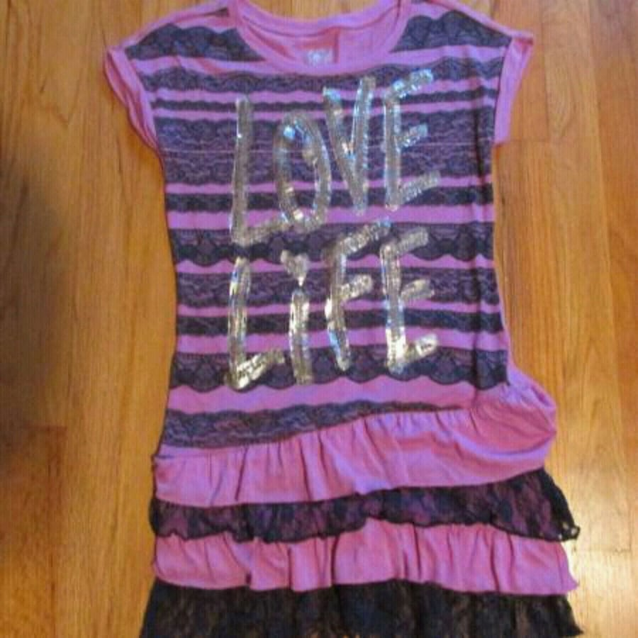 """Justice Purple & Navy Shirt with Silver """"Love Life"""" - size 12"""