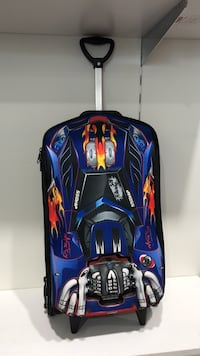 blue, red, black, and grey luggage