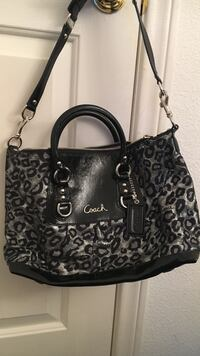 black and gray leopard print two way bag