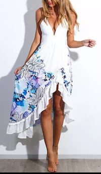 NEW white and blue floral dress, Sz 8-10 Vaughan, L6A 3J8