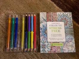 **Stress Relieving Coloring Book-Brand New-Missing One Pencil**