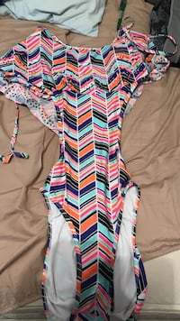 orange and multicolored scoop-neck swimsuit one piece Sand Springs, 74063