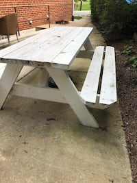 """Pick-nick table w/benches. Treated wood, painted white. Good condition. Table Size: 71"""" *28"""" Silver Spring, 20902"""