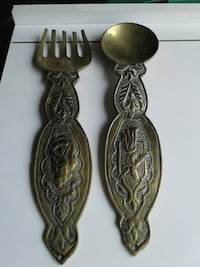 two brass-colored fork and spoon
