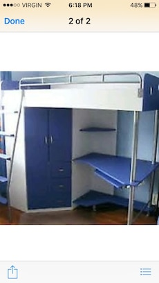 white and blue loft bed