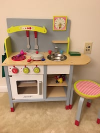 Wooden play toy kitchen with accessories