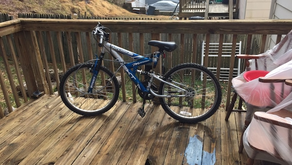 Blue and gray bike