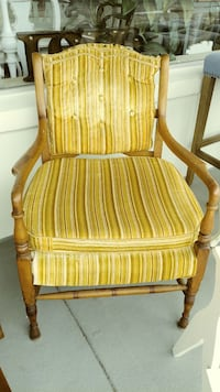 Brown wooden-frame brown and gray striped padded armchair Clearwater, 33761