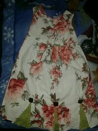 white and red floral crew-neck sleeveless dress