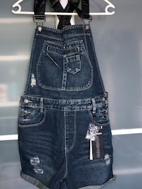 grå whiskered denim dungaree shorts