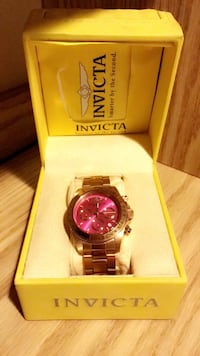 round gold Invicta chronograph watch with link bracelet Columbia, 21046
