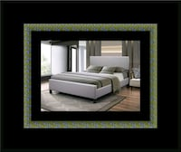 Grey platform bed with mattress 32 mi