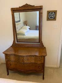 Solid Oak Antique Dresser with attached Mirror Flower Mound, 75022