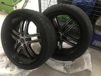 Black 5-spoke car wheel with tire Toronto, M9R 0A9