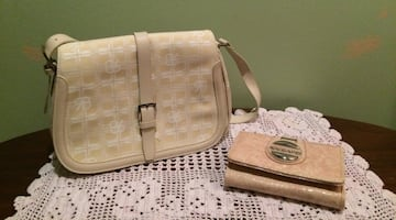 Women's beige leather sling bag and clutch wallet set!